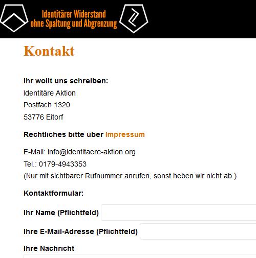 Abbildung 8: Kontaktangaben der IA auf deren Website